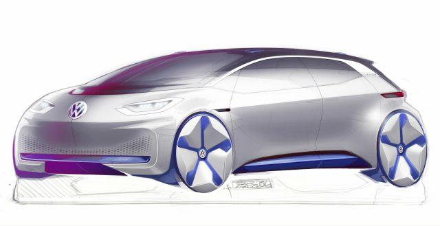 Компания Volkswagen официально представила зарисовки своего нового электрокара